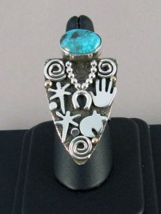 Native American Zuni/Navajo Made Grandmother Ring with Turquoise