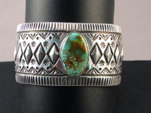 Native American Zuni/Navajo Made Cuff Bracelet with Turquoise