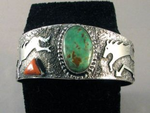 Native American Navajo Made Cuff Bracelet with Turquoise