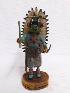 Native American Hopi Carved Chasing Star Planetary Katsina Doll--Blue