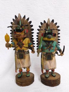 Native American Hopi Carved Chasing Star Planetary Katsina Dolls--Buy BOTH and SAVE!