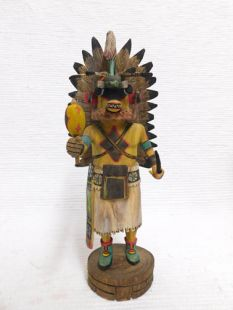 Native American Hopi Carved Chasing Star Planetary Katsina Doll--Yellow