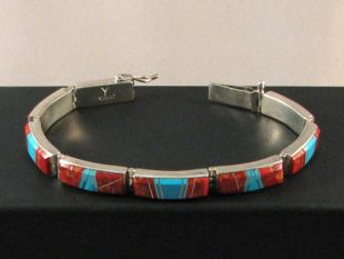 Native American Navajo Made Link Bracelet with Coral and Turquoise