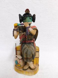 "Native American Hopi Carved Hano Mana Katsina Doll ""Music Maker"""