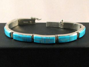 Native American Navajo Made Link Bracelet with Turquoise