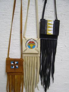 Native American Cherokee Made Small Medicine Bag with Flap and Fringe
