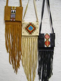 Native American Cherokee Made Medicine Bag with Flap and Fringe