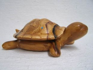 Native American Navajo Ceramic Woodgrain Turtle Lidded Box