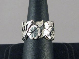 Native American Hopi Made Overlay Ring with Flowers and Butterflies
