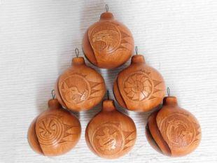 Native American Navajo Made Ceramic Woodgrain Christmas Ball Ornaments