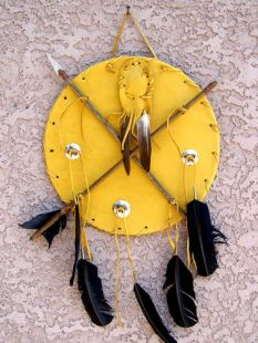 Native American Tohono O'odham Made Small Ceremonial Medicine Man Shield with Medicine Bag