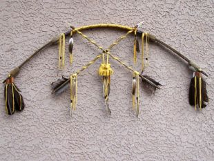 Native American Tohono O'odham Made Cross Bow with Medicine Bag