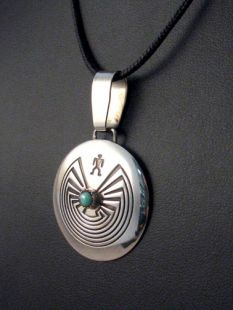 Native American Navajo Made Man in the Maze Pendant with Turquoise