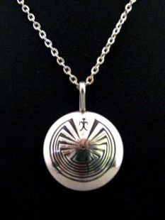 Native American Navajo Made Man in the Maze Reversible Necklace