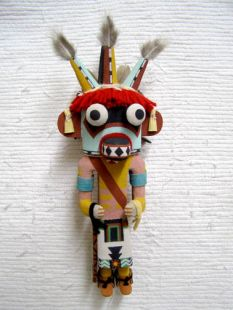 Old Style Hopi Carved Three-Horn Traditional Dancer Katsina Doll