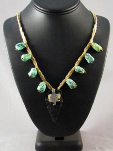 Native American Apache Made Turquoise and Obsidian Necklace