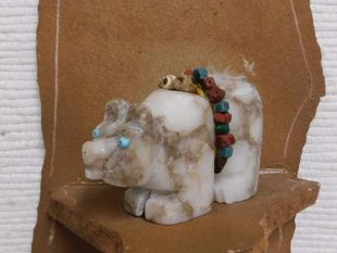 Native American Apache Carved Alabaster Bear Sculpture