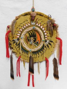 Native American Apache Made Shield with Bear Paw