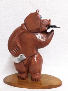 Native American Apache Carved Sedona Red Rock Bear Sculpture with Fish