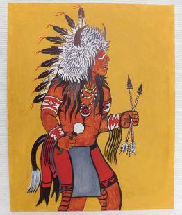 Native American Apache Made Buffalo Dancer Painting