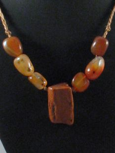 Native American Apache Made Necklace with Carnelian and Jasper