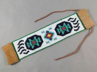 Native American Made Fully Beaded Cuff Bracelet with Bear Paws