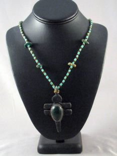 Native American Apache Made Turquoise Necklace with Dragonfly