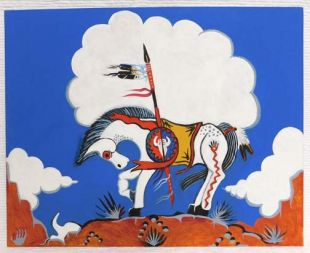 Native American Apache Made War Pony Painting