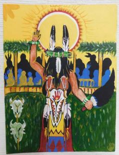 Native American Apache Made Sun Dancer Painting with Eagle Dancer Drawing