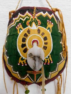 Native American Apache Made Turtle Shell Dance Shield