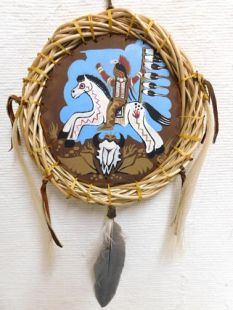 Native American Apache Made Painted Shield of Plains Warrior on War Pony