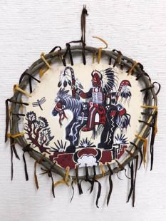 Native American Apache Made Shield with Warrior
