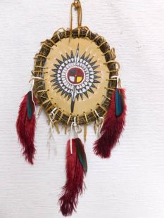 Native American Apache Made Black Warbonnet Shield
