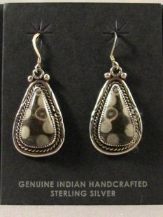 Vintage Native American Navajo Made Earrings with Orthoceras
