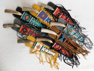 Native American Algonquin Made Beaded Flat Fringed Knife Sheaths