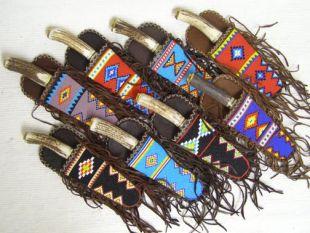 Native American Algonquin Made Beaded Flat Fringed Knife Sheaths