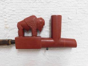 Native American Made Pipestone Buffalo Pipe