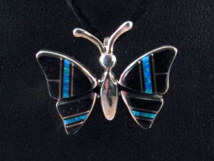 Native American Navajo Made Butterfly Pin/Pendant with Jet and Blue Ice Opal