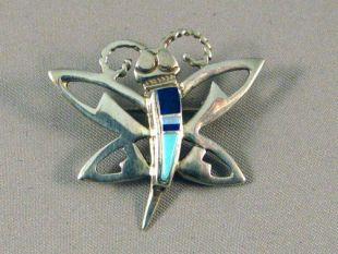 Native American Navajo Made Butterfly Pin/Pendant with Multistones