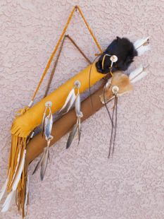 Native American Navajo Made Round Quiver with Fox Face and Arrows
