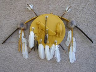 Native American Navajo Made Bow and Arrows with Shield