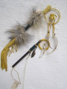 Native American Navajo Made Small Coup Sticks with Dreamcatcher
