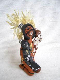 Native American Jemez Made Koshare Storyteller with Two Little Koshares