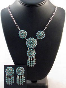 Native American Navajo Made Chandelier Necklace and Earrings with Turquoise