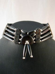 Native American Four-Row Black and Brown Choker with Center Piece