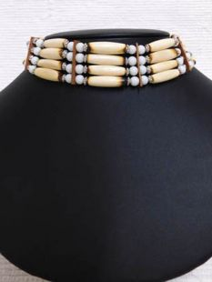 Native American Four-Row Antiqued and White Choker