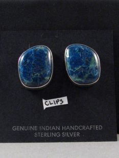 Native American Navajo Made Earrings with Chrysocolla--Clip-ons