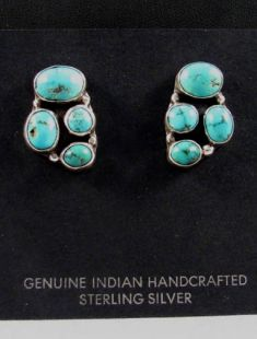 Native American Navajo Made Earrings with Turquoise