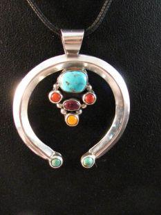 Native American Navajo Made Multistone Naja Pendant