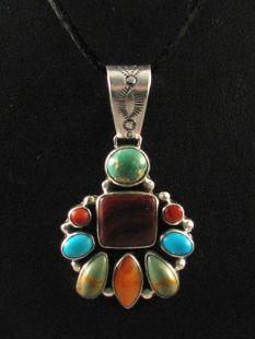 Native American Navajo Made Pendant with Multistones